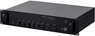 Monoprice Commercial Audio 60W 5ch 100/70V Mixer Amp with Microphone Priority (NO Logo)