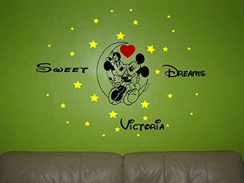 Wall Decor Minnie Mouse et Mickey Mouse sur la Lune personnalisé Sticker Mural Nurser Autocollant Mural Art Mural.