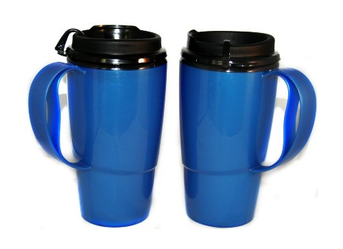 GAMA Electronics 2 Foam Insulated ThermoServ Coffee Mugs 16 oz. Blue