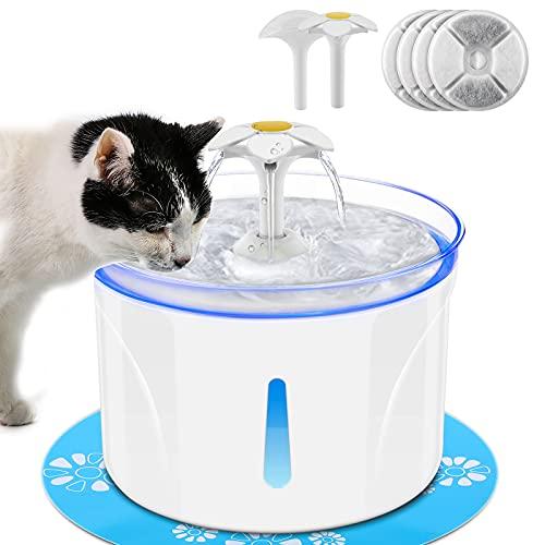 Fuente de agua para gatos 2.5L, bebedero automático para gatos y perros, bebedero ultra silencioso con bomba anti-seco para mascotas, 4 filtros de carbón activado, 2 boquillas, luz de noche LED.