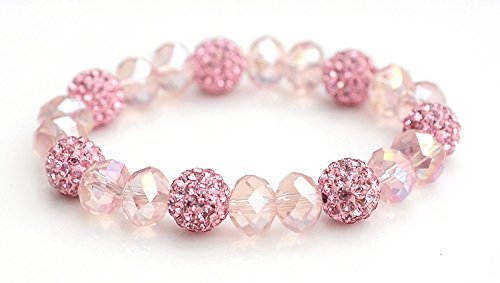 Crystal Shamballa Beads Aurora Borealis (AB) Faceted Glass Bracelet Stretch Cord Pink