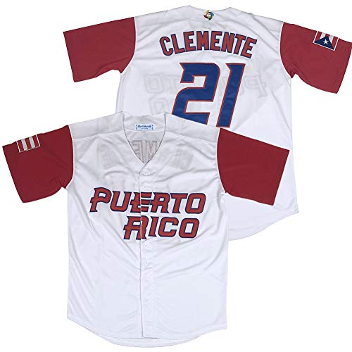 Puerto Rico #21 Roberto Clemente World Game Classic Baseball Jersey Stitched Size M