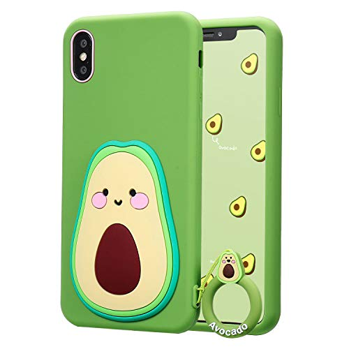 Coralogo for iPhone X/XS Case,3D Cute Cartoon Funny Food Fruit, Soft Silicone Character Designer Shockproof Kawaii Fashion Fun Cool Cover Cases for Girls Boys Teens Kids iPhone X/XS 5.8' (Avocado)