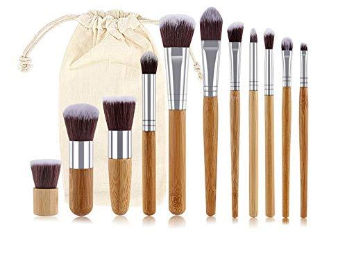 Heerda Lot de 11 pinceaux de maquillage en bambou naturel doux synthétique avec pochette de voyage