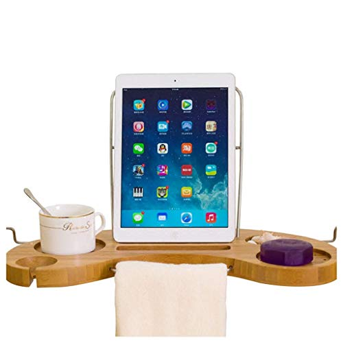 Gxfeng Support de plateau de baignoire, bambou extensible avec verre à vin/téléphone portable/porte-savon, ventouse antidérapante, baignoire pour salle de bains pour hôtel et ménage, (45-95) x16x2