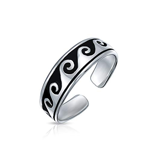 Personalized Nautical Ocean Waves Midi Thin Band Toe Ring For Women 925 Silver Sterling Adjustable Custom Engraved