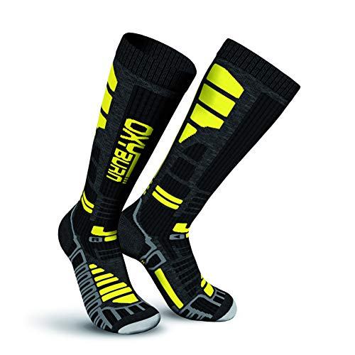 Oxyburn Ski Thermo Knee High Energizer Dry Chaussettes Homme, Noir/Jaune, Size 31/34