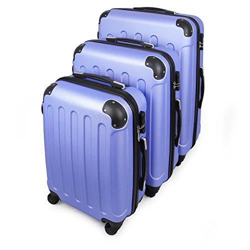 Todeco - Set Di Valigie, Valigie Da Viaggio - Materiale: Plastica ABS - Tipologia ruote: 4-ruote con 360° di rotazione - Angoli protettivi, 51 61 71 cm, Blu Cielo, ABS