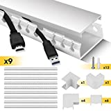 Cable Raceway Kit, Stageek Cable Management System Kit Open Slot Wiring Raceway Duct with Cover, On-Wall Cable Concealer Cord Organizer to Hide Wires Cords for TVs, Computers - 9x15.4inch,White