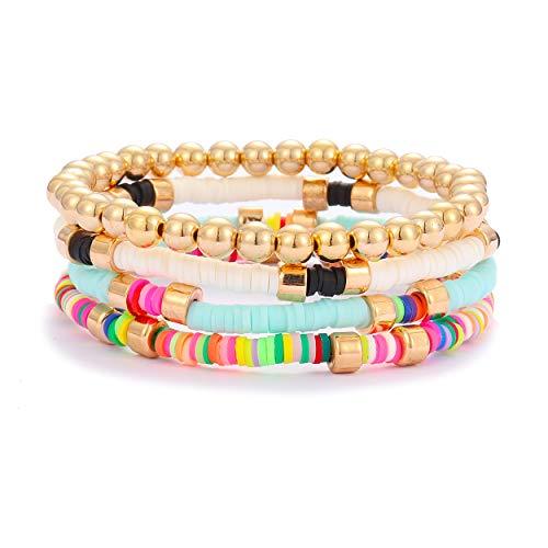 Colorful Beaded Bracelet for Women Heishi Bracelet Bohemian Assorted Bright Colored Gold Bead Stretch Strand Bracelet Set(Multicolor)