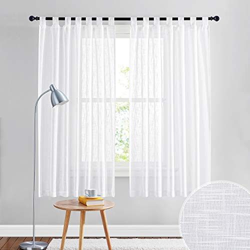 RYB HOME Linen Sheer Curtains - Linen Textured Semi Sheer Curtains for Home Office Kids Nursery Bedroom Window Curtains, 52 inches Wide x 63 inches Long per Panel, 2 Panels, White