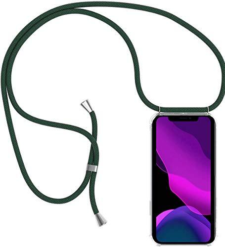 2ndSpring Handykette Schutzhülle kompatibel mit Oppo Find X2 Neo Handyhülle mit Band,Halsband Lanyard Hülle Cover Silikonhülle Umhängen Handytasche Hülle,Dunkelgrün