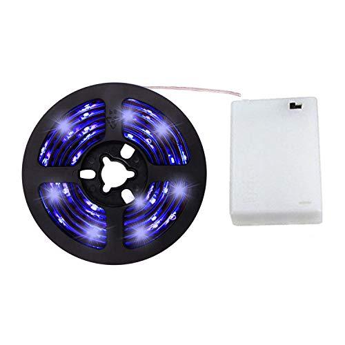 cuzile LED Lichtleiste LED Band Tape blau 200 cm 66 in + Batterie box + Schalter Batteriebetrieben