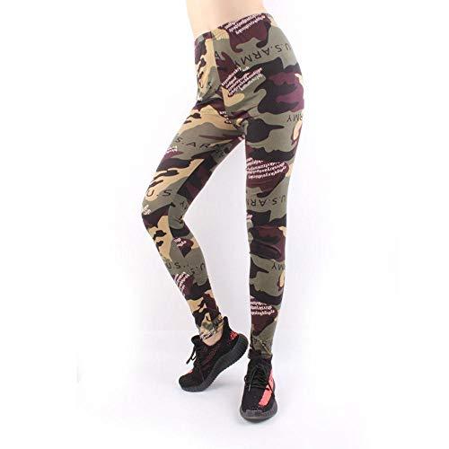 4-way stretch yoga-legging,Bedrukte yogabroek met hoge taille, camouflage sportlegging - goudkleurig een maat,Yogabroek extra zachte legging met zakken voor dames