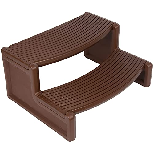 ECOTRIC Spa and Hot Tubs Step Plastic Stairs for Round/Straight Sided Spa Espresso/Red Brown