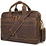 Augus Leather Messenger Bag for Men Vintage Travel Backpack 17 inch laptop Briefcase Shoulder Bags With YKK Metal Zipper