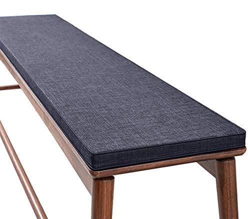 ZINN Weichschaum-Bankkissen, 3 cm dick, für Küche, Bank, Garten, Schaukel, Sitzkissen, Liegestuhl-Matte für drinnen und draußen, abnehmbarer Bezug, 180 x 35 cm, Dunkelgrau