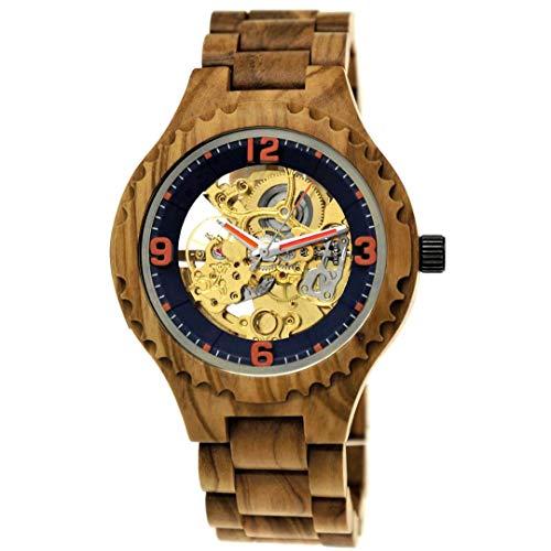 Holzwerk Germany - Reloj automático para hombre (madera), color marrón, azul y dorado