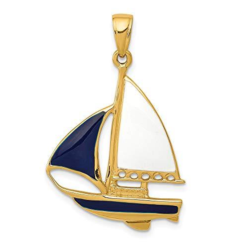 Saris and Things 14k gelbgold 2-d-blau und weiß enameled segelboot-anhänger