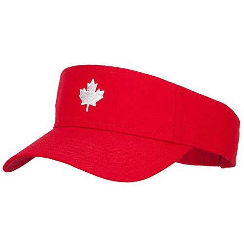 Canada Logo Maple Leaf Embroidered Cotton Sun Visor - Red OSFM