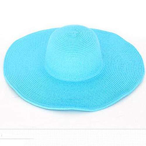 Seaside Sun Visor Hat Female Summer Sun Hats for Women Large Brimmed Straw Sun Hat Folding Beach Girls,Sky Blue,54-58CM