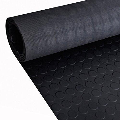 Festnight Gummi Bodenmatte Bodenschutzmatte Gummimatte Antirutsch Matte 2x1 m mit Punkte Schwarz