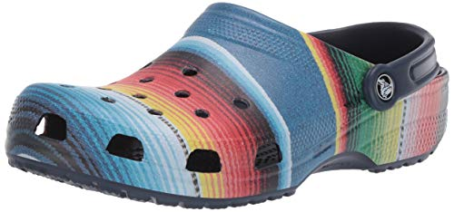 Crocs Men's and Women's Classic Striped Clog|Casual Slip On Water Shoe, multi/navy, 9 US 7 US M US