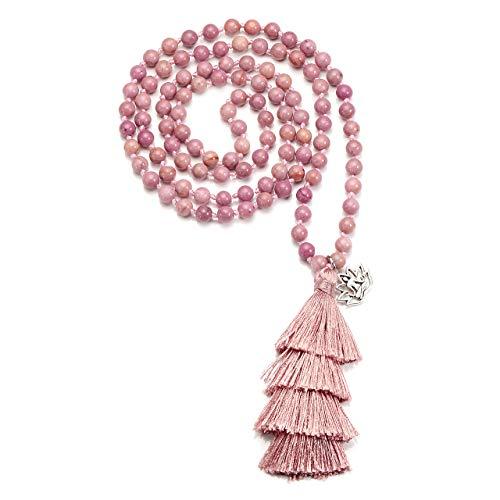 JSDDE 108 Perlen Edelstein Yoga Armband Schmuck 6mm Stein Wickelarmband Buddha Gebetskette Reiki Mala Kette Halskette mit OM Lotus Anhänger Rhodonit mit Pink Quaste