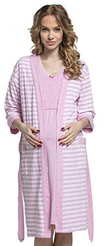 HAPPY MAMA Para Mujer Set Camisón Bata de Rayas Premamá Embarazo Lactancia. 190p (Rosa, 44-46, 2XL)