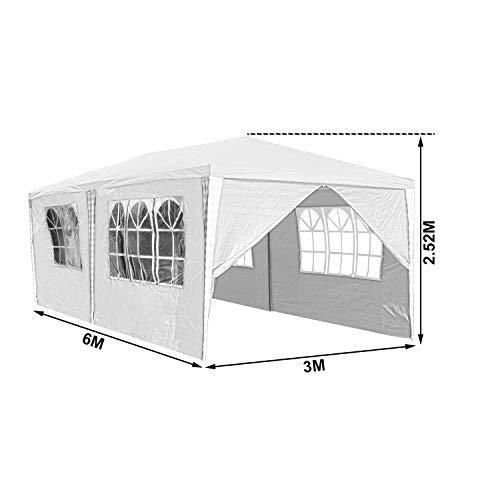 Hengda 3x6m Pavillon Partyzelt UV-Schutz Hochwertiges GartenPavillon Wasserdicht mit 6 Seitenteilen für Hochzeit Party Camping - 5
