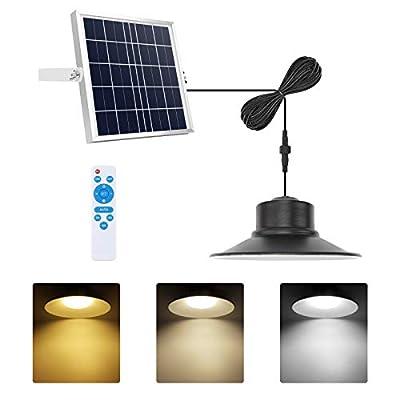 NIORSUN Solar Lights Outdoor Hanging, Solar Pendant Lights 5000K|4000K|3000K|IP66 Waterproof Dimmable Chandelier with 16.4ft Cable for Indoor, Garden, Patio, Garage, Camp