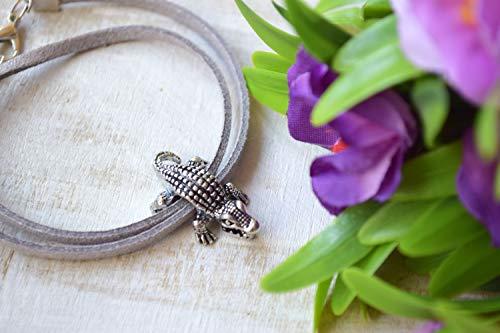 Krokodil Pandora Bettel Armband Alligator Silber Leder Geschenk