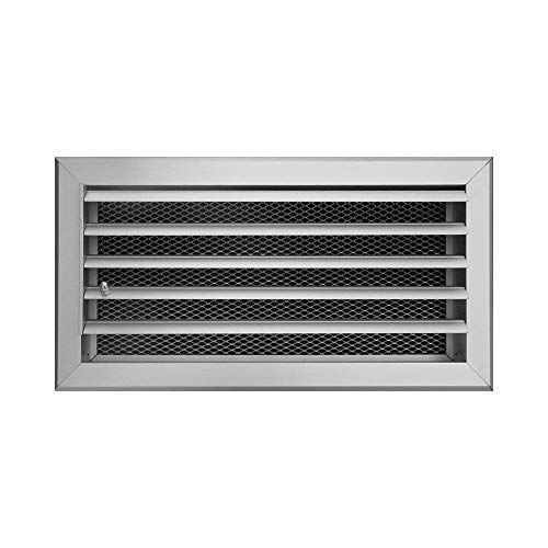HVAC Aluminum Ventilation Grille with Curved Fins Which are Moved All Together into Upper, Middle or Down Position. (12.2'' x 1.6'' x 5.5'' (310 x 40 x 140 mm))
