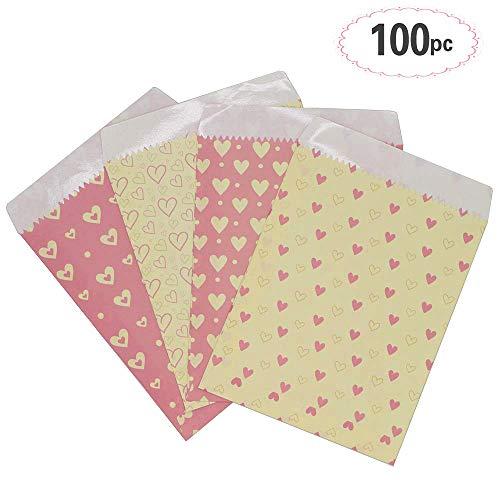 Sinoest 100 Candy-Bar Tüten Papiertüten Süßigkeiten Tüten für Ostern Hochzeit Zubehör Kindergeburtstag 4 Designs mit je 25 Geschenktüten (Rosa & Creme)
