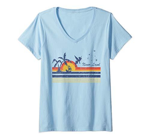 Womens Disney Peter Pan Tinker Bell Flying Silhouette V-Neck T-Shirt