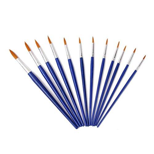PIXNOR-Set di pennelli per pittura ad olio pennelli pennelli per pittura acrilica, punta, confezione da 12