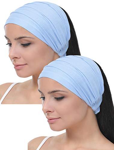 Deresina Elastisches dehnbares Stirnband, Haarband für Haarausfall (Maya Blue)