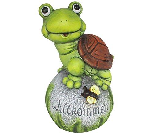 Dehner Dekofigur Schildkröte auf Ball, ca. 21.5 x 24 x 37 cm, Magnesia, grün/braun/grau