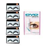 Khelni 5 Pieces False Eyelashes with Eyelash Glue