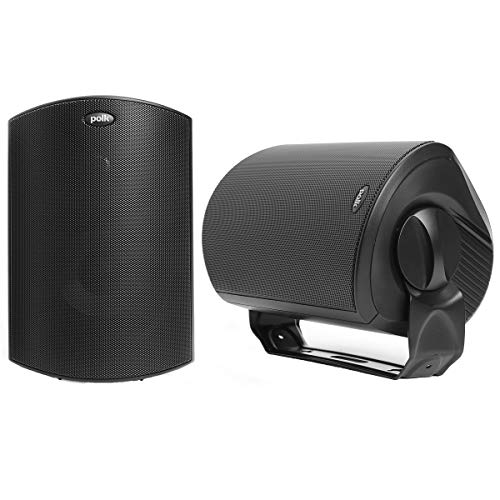 Polk Audio Atrium 6 Outdoor Speakers with Bass Reflex Enclosure Pair Black  AllWeather Durability | Broad Sound Coverage | SpeedLock Mounting System