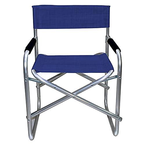 Mediawave Store – Silla de director de aluminio Onshore, plegable, tejido textileno, 55 x 57 x 82 cm, ideal para playa, excursión, montaña, jardín, tela lavable, camping, terraza, plegable (azul)
