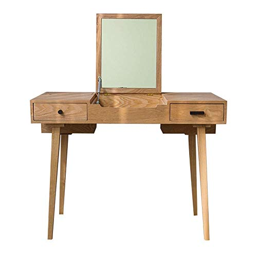 N&O Renovation House Modern Make up Table Solid Wood Makeup Dressing Table with Flip Top Mirror and 2 Drawers 2 Colors for Girl Dressing Table Set (Color : White Size : 100x55x75cm)