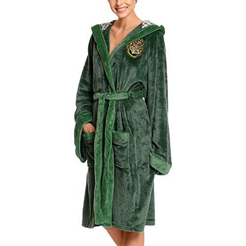 Elbenwald Harry Potter Bademantel mit Kapuze mit großem Slytherin Wappen auf dem Rücken und aufgesetzten Taschen für Damen und Herren grün 110 cm