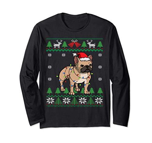 Babbo Natale francese | Natale Bulldog francese Maglia a Manica