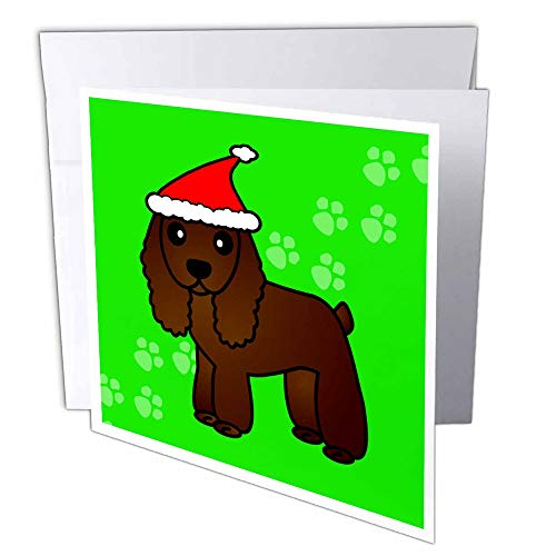 "3D Rose gc_15354_2 Cute Chocolate Cocker Spaniel Green Paw Background with Santa Hat - Greeting Cards, 6 x 6"", Set of 12"