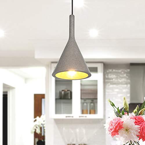 Lampada a sospensione a LED, E27, per soggiorno, sala da pranzo, cucina, regolabile in altezza, Colore:Calcestruzzo-Sandstone-Nero, Lampadina:Latteo - 800lm / 8W