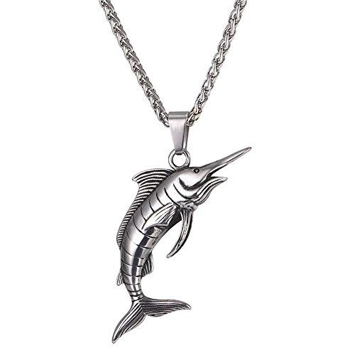 U7 Collar Hombre de Acero Inoxidable Colgante de Tiburón con Cadena 5