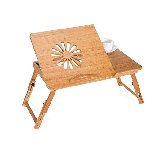 GZQDX Bambú Plegable de Escritorio del Ordenador portátil, Laptop Stand Ajustable Desayuno portátil Sirviendo Bandeja de la Cama con la inclinación Superior del cajón y el Titular de la Copa