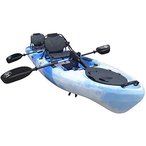 BKC PK14 14' Tandem Sit On Top Pedal Drive Kayak W/Rudder System and Instant Reverse, 2 Paddles, 2 Upright Back Support Aluminum Frame Seats 2 Person Foot Operated Kayak (Blue Camo)