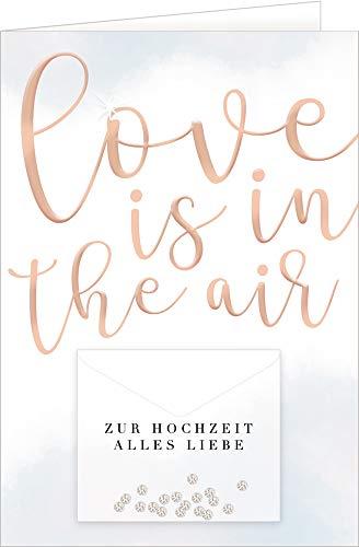 Grußkarte - Love is in the air: Zur Hochzeit alles Liebe